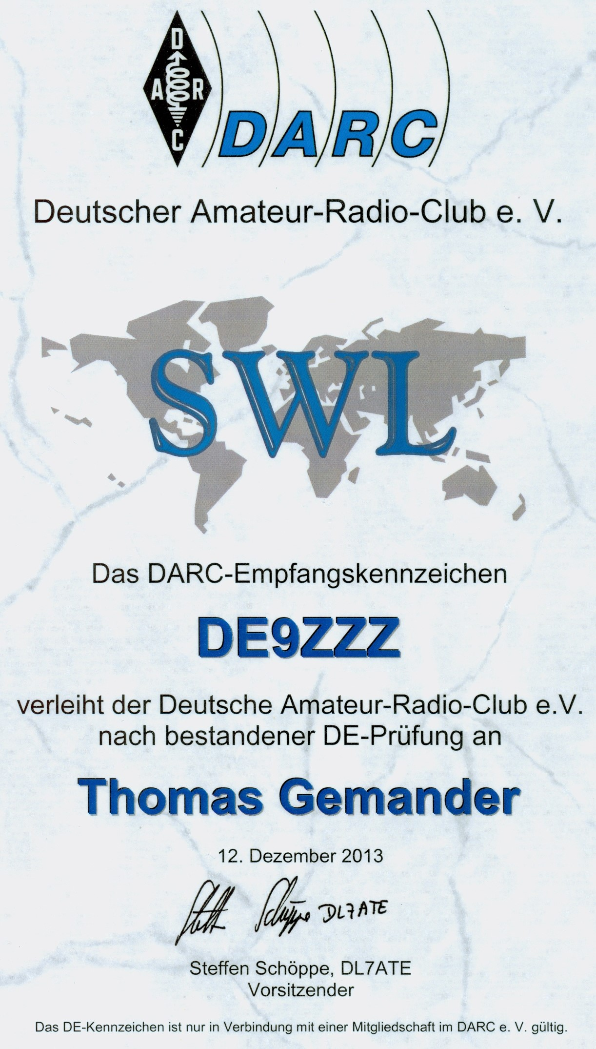 DE9ZZZ Lizenz License